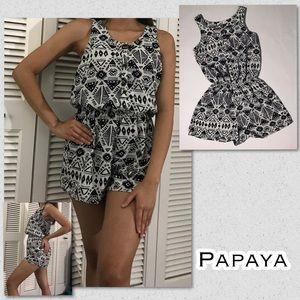 Papaya Black and White Romper - S